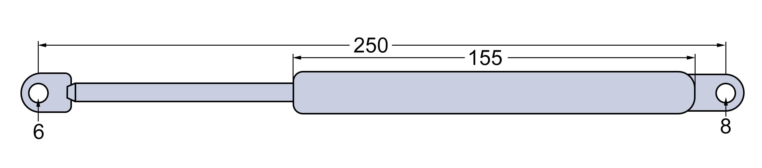 Gasdruckfeder Dachluke für Case IH//IHC 644 744 844 946 955 1046 1055 1246-1455