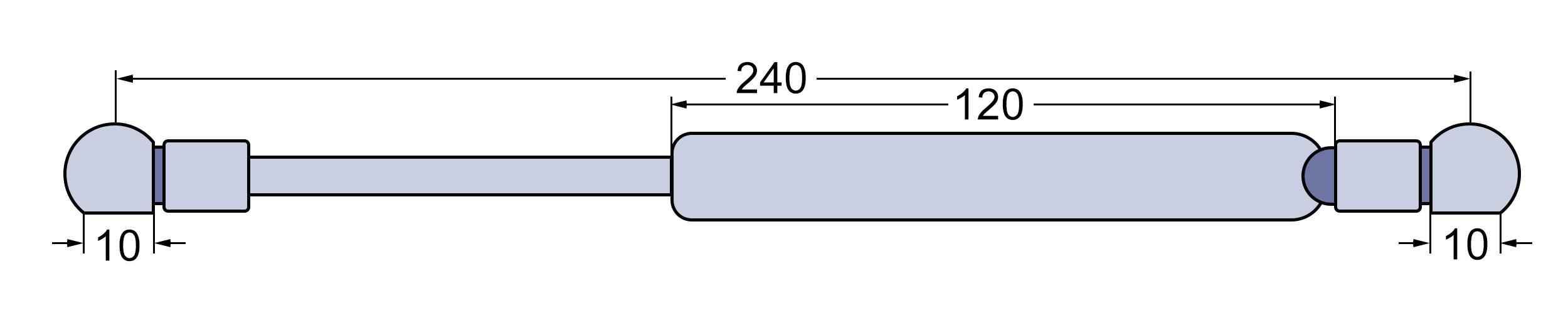 80-260 106-160MK3 6.00-6.45 Gasdruckfeder Deutz Tür Agrotron 4.70-4.95